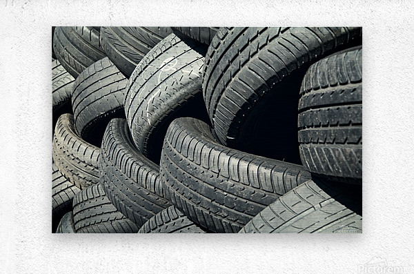 Tires stacked for recycling  Metal print