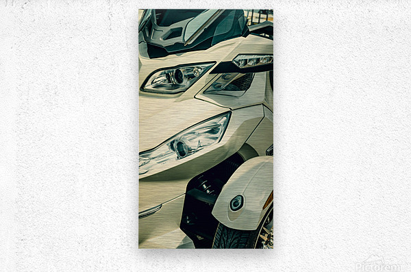 Head lights on the motor bike  Metal print