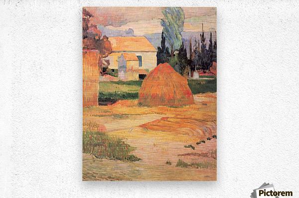 Farmhouses in Arles by Gauguin  Metal print