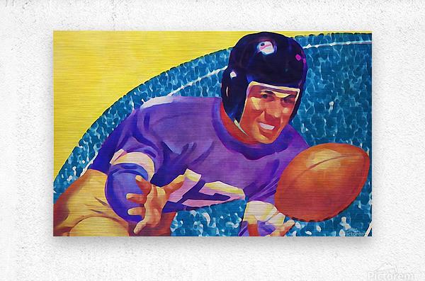 Football Art Watercolor Sports Art  Metal print