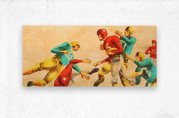 Vintage 1950s Football Art Print  Metal print