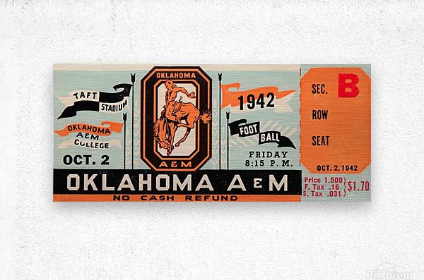 Oklahoma A&M Aggies Football Ticket Stub Art OSU Cowboys Ok State College Football Art  Metal print