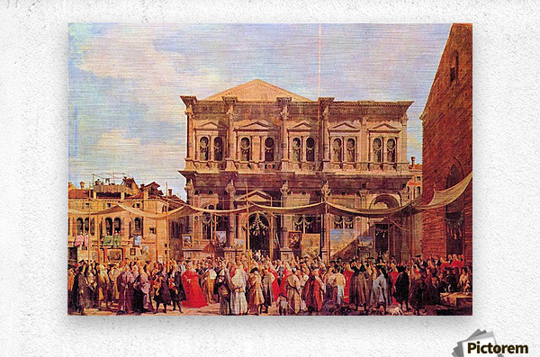 Festival in San Rocco by Canaletto  Metal print
