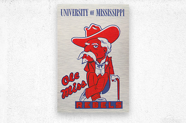 1975 College Mascot Art Reproduction University of Mississippi Ole Miss Rebels_Colonel Reb Art (1)  Metal print