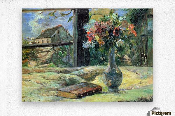 Flower Vase in Window by Gauguin  Metal print