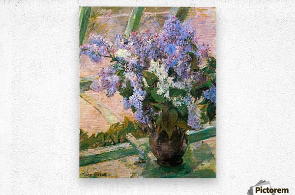 Flowers in the window by Cassatt  Metal print