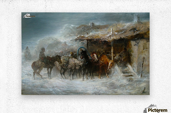 Shelter from the Blizzard  Metal print