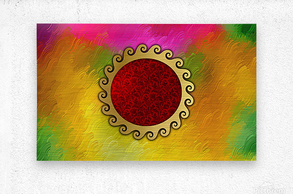 Signs of power and protection amulets sun  Metal print