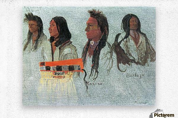 Four Indians by Bierstadt  Metal print
