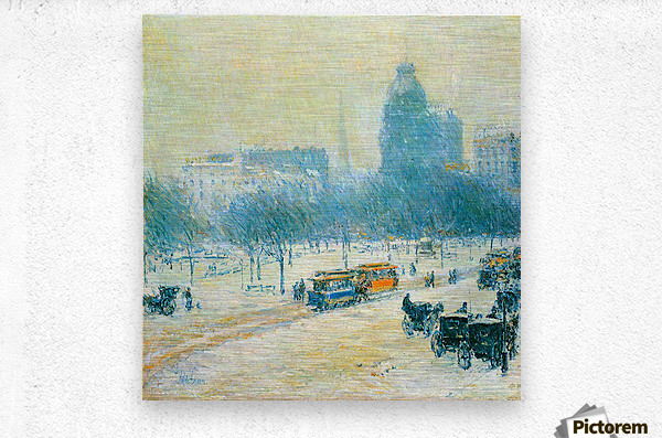 Winter in Union Square by Hassam  Metal print