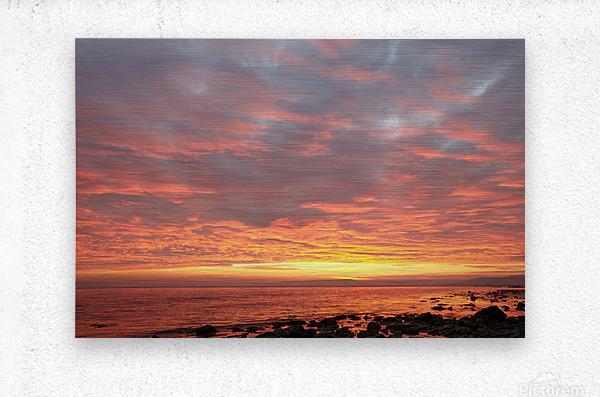 Dramatic sunset at a small bay  Metal print
