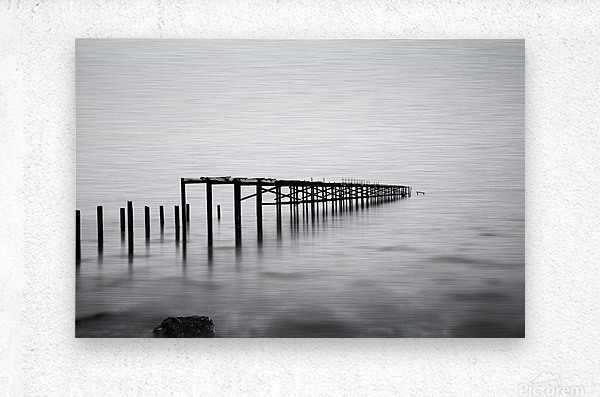 Abandoned pier in the sea at sunset  Metal print