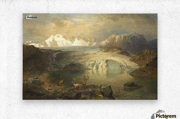 Fjordlandschaft mit Gletscher und Rentieren  Metal print