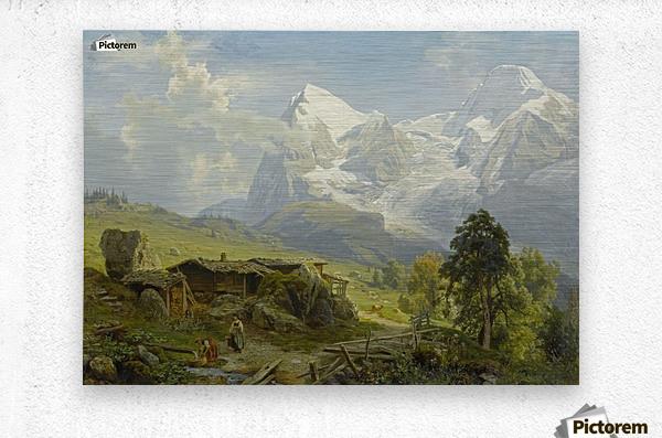 Blick von der Wengerenalp auf Eiger und Monch  Metal print