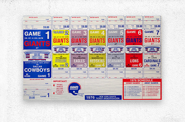 1976 New York Giants NFL Ticket Sheet Reproduction Poster Row One  Metal print