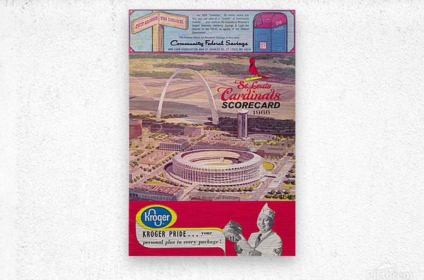 1966 St. Louis Cardinals Opening Game New Busch Stadium Scorecard Kroger Food Ad Poster  Metal print