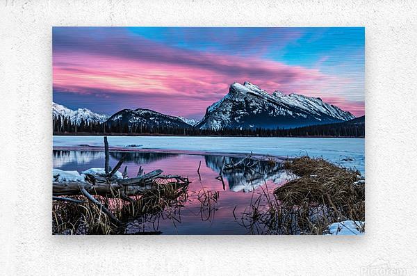 Rundle Mountain Sunset Banff National Park  Metal print