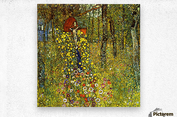 Garden with crucifix by Klimt  Metal print