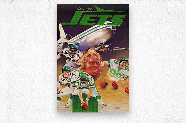 vintage new york jets poster art artist george zebot row one brand sports posters  Metal print