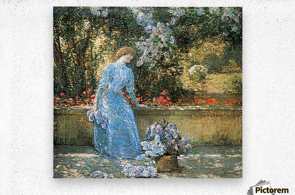 Woman in park by Hassam  Metal print