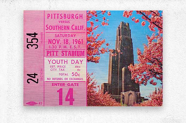 1961 usc pitt panthers football ticket stub poster print metal wood tickets  Metal print