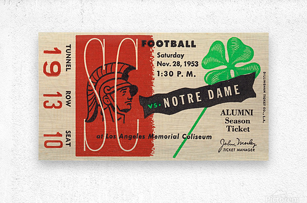 1953 usc notre dame football ticket stub print poster vintage metal sports tickets row 1  Metal print