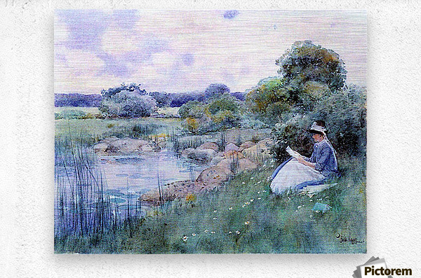 Woman reading by Hassam  Metal print
