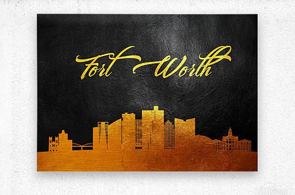 Fort Worth Texas Skyline Wall Art  Metal print