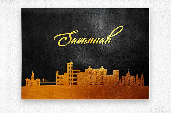 Savannah Georgia Skyline Wall Art  Metal print