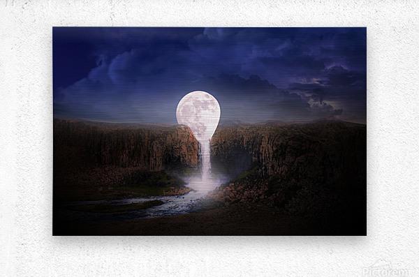 moon landscape night fantasy  Metal print