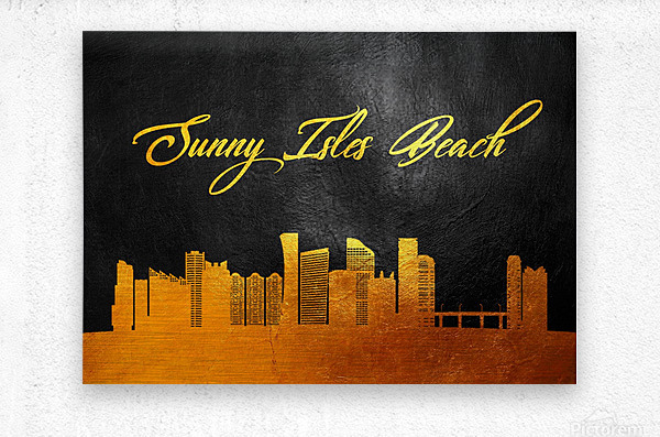 Sunny Isles Beach Florida Skyline Wall Art  Metal print