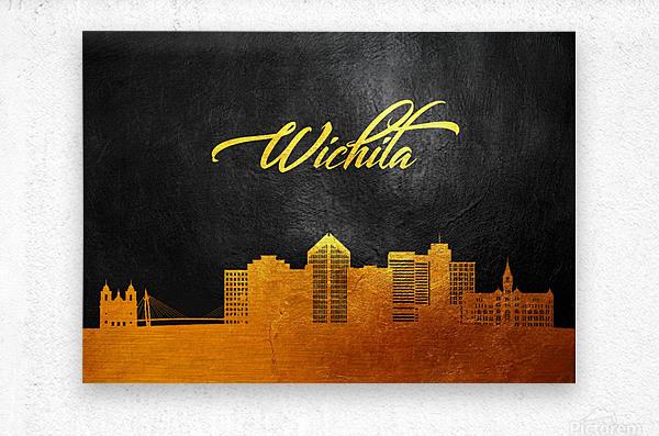 Wichita Kansas Skyline Wall Art  Metal print