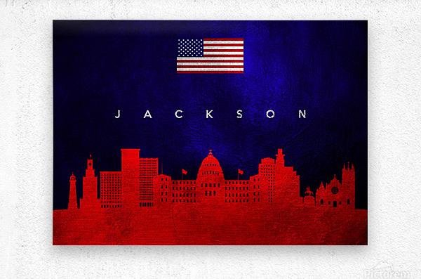Jackson Florida Skyline Wall Art  Metal print