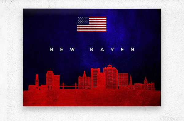 New Haven Connecticut Skyline Wall Art  Metal print