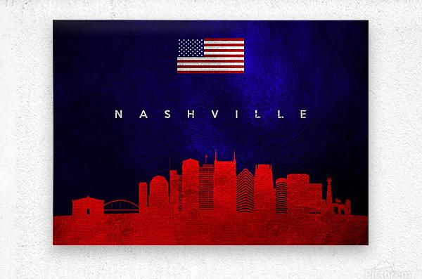 Nashville Tennessee Skyline Wall Art  Metal print