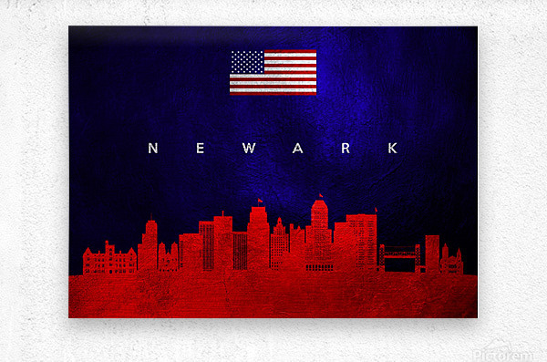 Newark New Jersey Skyline Wall Art  Metal print