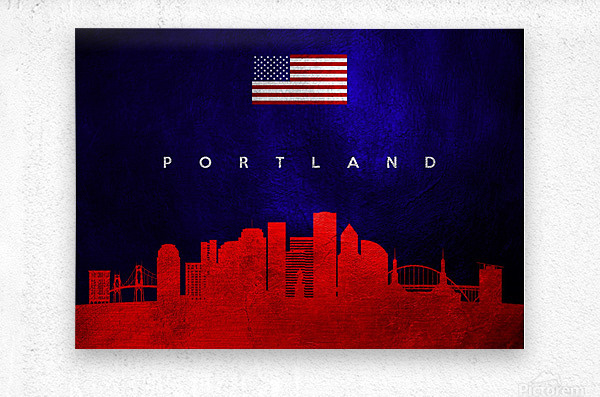 Portland Oregon Skyline Wall Art  Metal print
