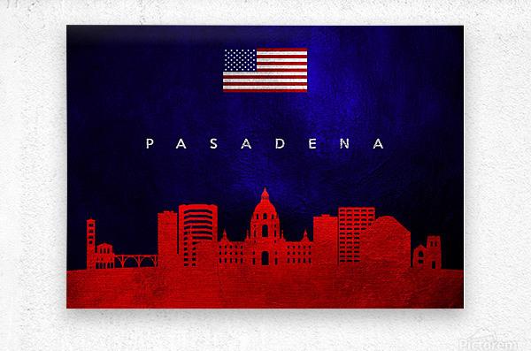 Pasadena California Skyline Wall Art  Metal print
