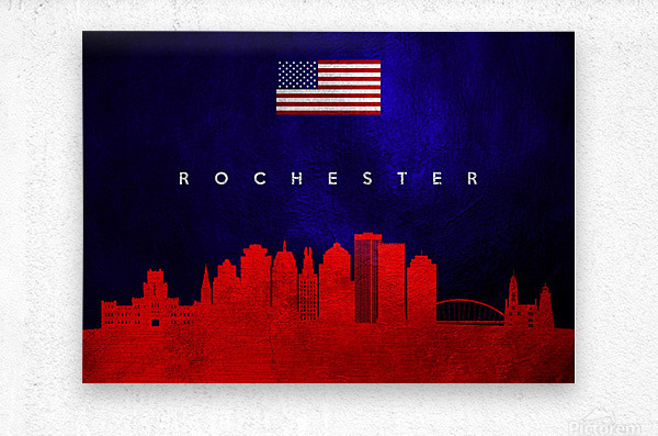 Rochester New York Skyline Wall Art  Metal print