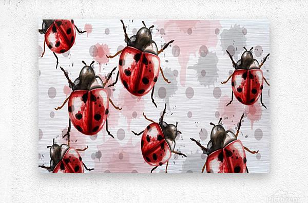ladybugs pattern texture watercolor_  Metal print