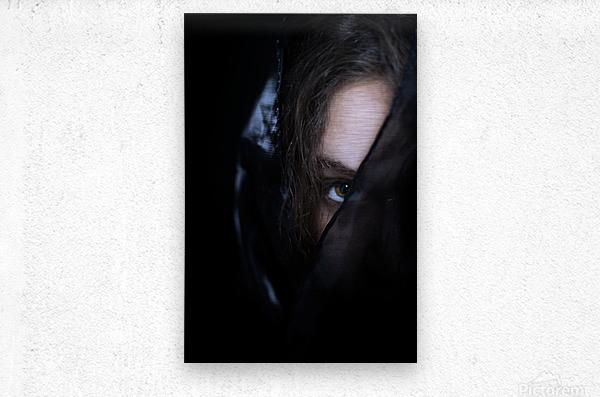 low key dark girl portrait  Metal print
