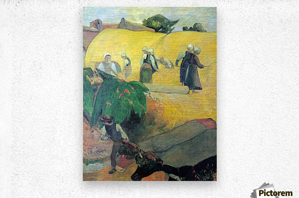 Harvest In Brittany by Gauguin  Metal print