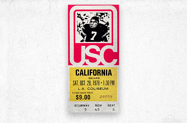 1978 usc trojans california ticket stub art poster  Metal print