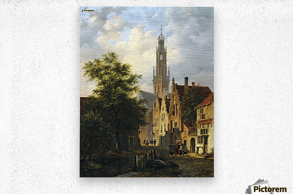 Bakenesserkerk seen from The Valkestraat, Haarlem  Metal print