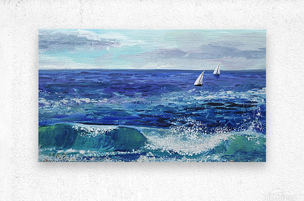 Two Boats In The Ocean Seascape Painting  Metal print