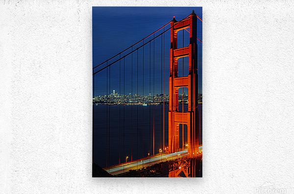 Golden Gate Bridge at Night  Metal print