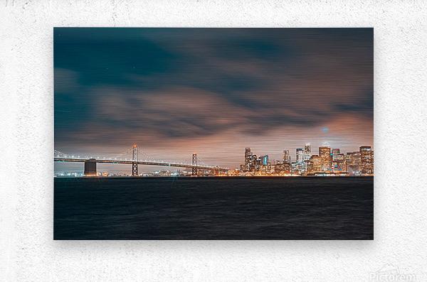 Cloudy San Francisco Night Skyline  Impression metal