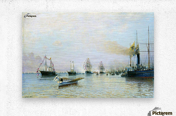 Parade of ships of the Baltic fleet on the occasion of the arrival of the German fleet in 1888  Metal print