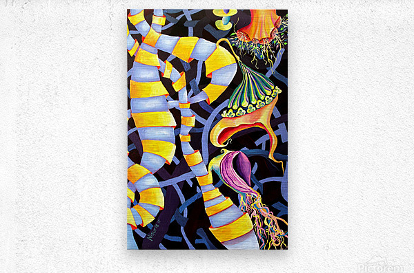 Watercolor Tropical Surrealism Orchids Painting  Metal print