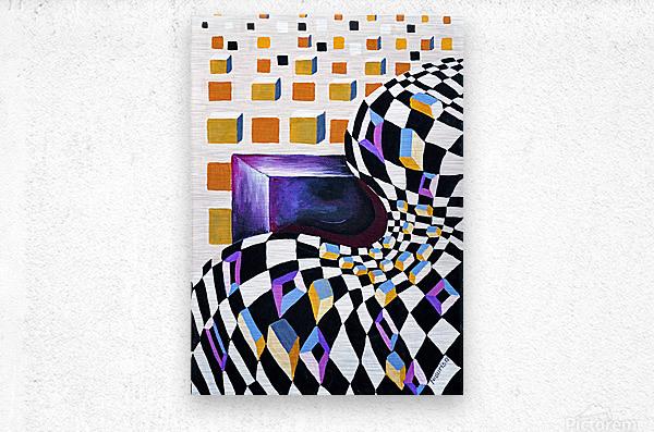 Retro Minimalism Abstract Chess Pattern  Metal print